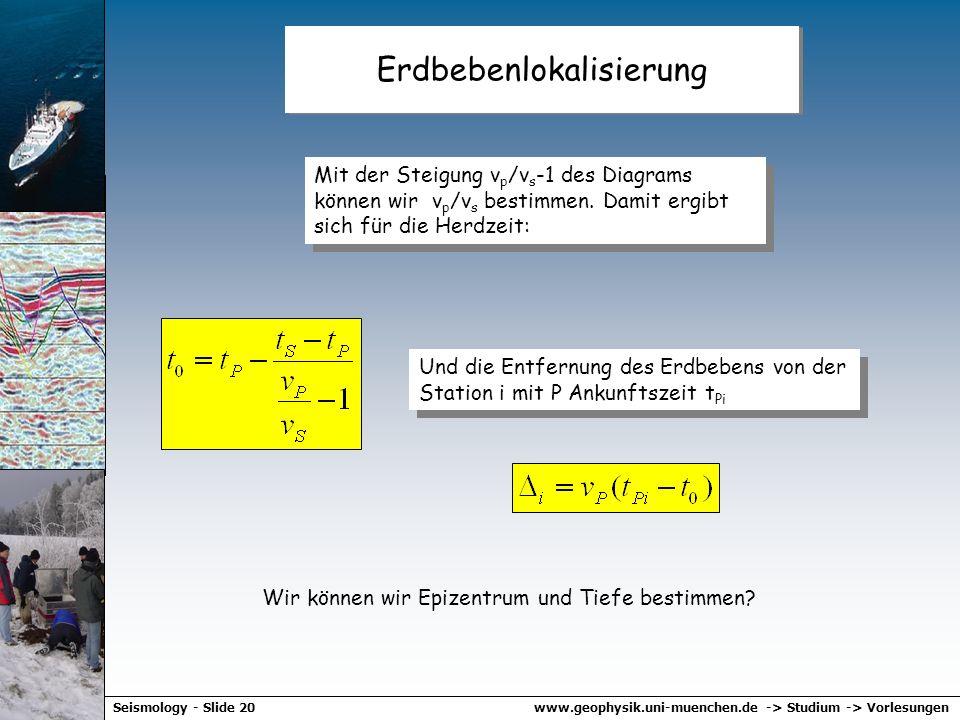 www.geophysik.uni-muenchen.de -> Studium -> VorlesungenSeismology - Slide 19 Wadati Diagramm t s -t p tptp slope... nach kurzer Rechnung …