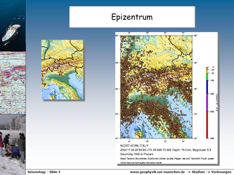 www.geophysik.uni-muenchen.de -> Studium -> VorlesungenSeismology - Slide 54 Erdbebenstatistik Das Gutenberg Richter Gesetz Zahl der Erdbeben als Funktion des seismischen Moments für globale Daten.