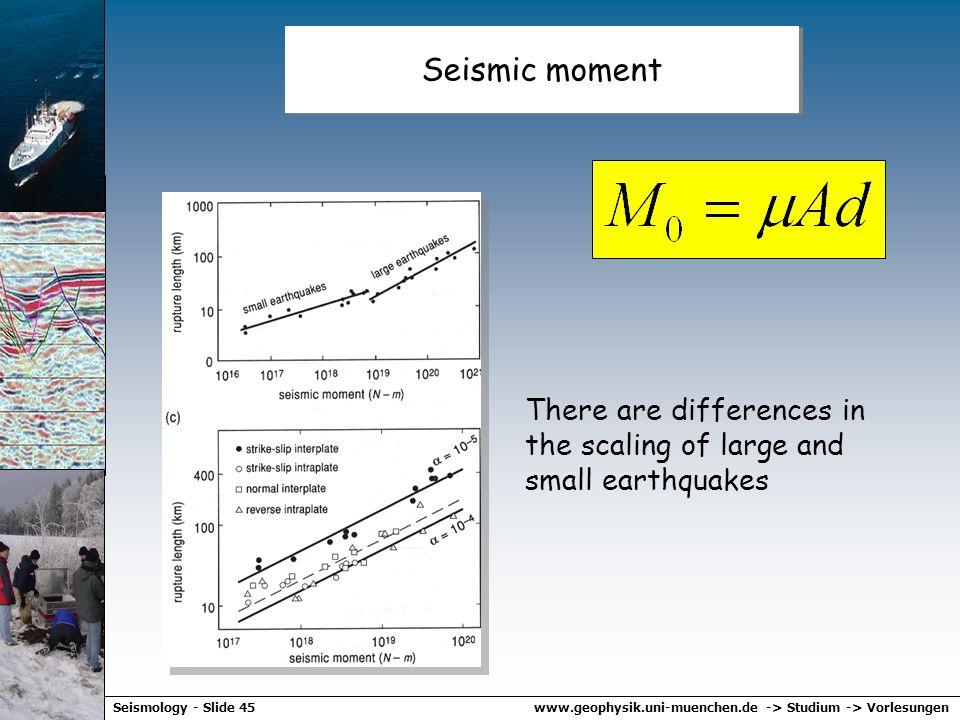 www.geophysik.uni-muenchen.de -> Studium -> VorlesungenSeismology - Slide 44 Seismic moment