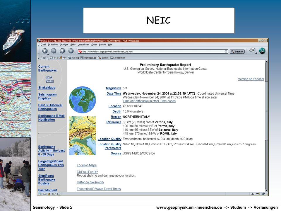 www.geophysik.uni-muenchen.de -> Studium -> VorlesungenSeismology - Slide 55 Zusammenfassung – Seismologie -Die Herdzeit von Erdbeben kann über die Differenzlaufzeit von P und S Wellen berechnte werden (Wadati Diagramm) -Das Epizentrum eines Bebens und dessen Tiefe kann graphisch ermittelt werden übder die Distanzen der the Seismometer von der Quelle -Die Magnitude eines Erdbebens wird über den Log der lokalen Veschiebung und einer Distanzkorrektur berechnet (Richter Skala) -Der Erdbebenherd wird charakterisiert über die Orientierung der Verwerfungsfläche und die Richtung der Verschiebung -Diese Information lässt sich aus den Polaritäten der P und S Wellen (Abstrahlcharakteristik) abschätzen -Die Häufigkeit von Erdbeben als Funktion der Magnitude ist durch das Gutenberg-Richter Gesetz beschrieben -Die Herdzeit von Erdbeben kann über die Differenzlaufzeit von P und S Wellen berechnte werden (Wadati Diagramm) -Das Epizentrum eines Bebens und dessen Tiefe kann graphisch ermittelt werden übder die Distanzen der the Seismometer von der Quelle -Die Magnitude eines Erdbebens wird über den Log der lokalen Veschiebung und einer Distanzkorrektur berechnet (Richter Skala) -Der Erdbebenherd wird charakterisiert über die Orientierung der Verwerfungsfläche und die Richtung der Verschiebung -Diese Information lässt sich aus den Polaritäten der P und S Wellen (Abstrahlcharakteristik) abschätzen -Die Häufigkeit von Erdbeben als Funktion der Magnitude ist durch das Gutenberg-Richter Gesetz beschrieben