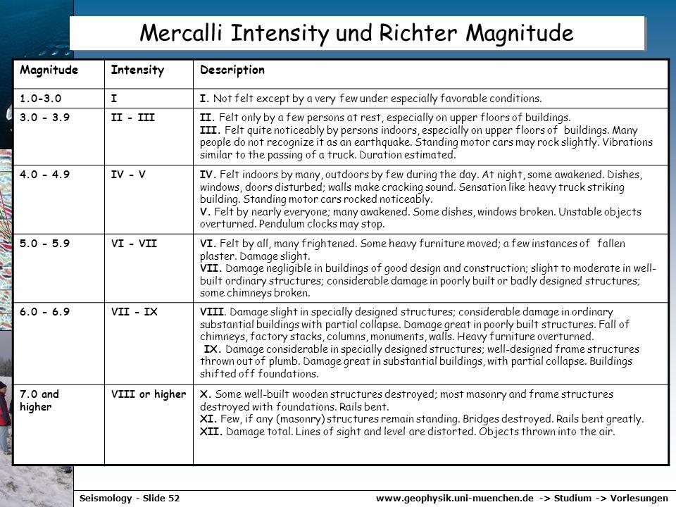 www.geophysik.uni-muenchen.de -> Studium -> VorlesungenSeismology - Slide 51 Magnituden Skala – Richter und andere Local Magnitude M L M L = log A – l