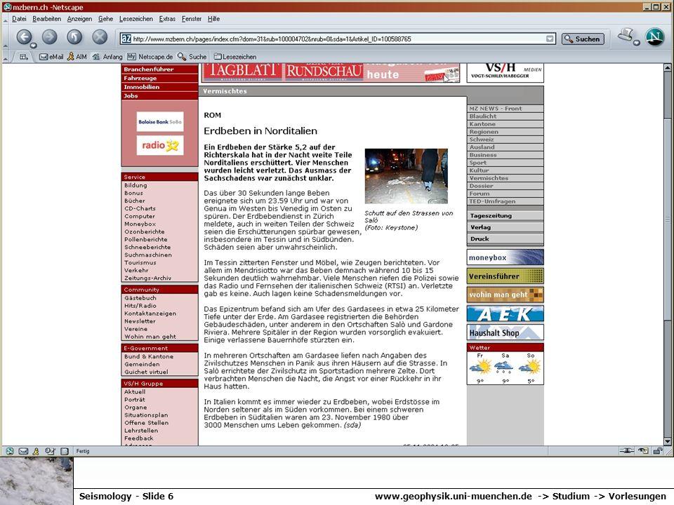 www.geophysik.uni-muenchen.de -> Studium -> VorlesungenSeismology - Slide 6