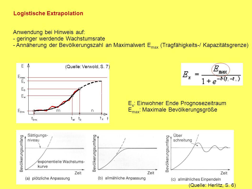 Einwände: - beeinflussende Faktoren sind nicht konstant - hohe Dynamik der exponentiellen Entwicklung kritisch (geringe Fehler => hohe Abweichungen der Endprognose) - keine Berücksichtigung der Bevölkerungszusammensetzung => Extrapolation nur für erste Richtwerte Bessere Methode für langfristige Vorhersagen: Komponentenmethode => Gliederung der Ausgangsbevölkerung nach Alter und Geschlecht Grundannahme: - Bev.veränderung von Fertilität, Mortalität und Migration abhängig => Bestimmung von Wahrscheinlichkeiten