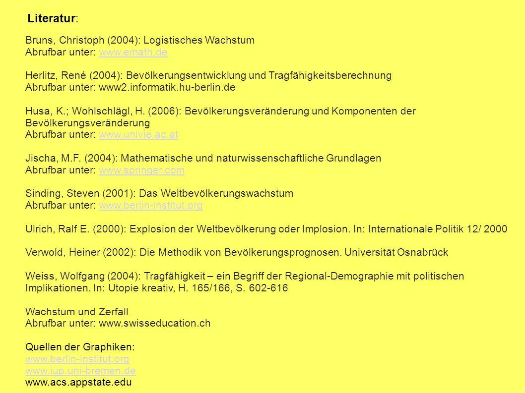 Literatur: Bruns, Christoph (2004): Logistisches Wachstum Abrufbar unter: www.emath.dewww.emath.de Herlitz, René (2004): Bevölkerungsentwicklung und T