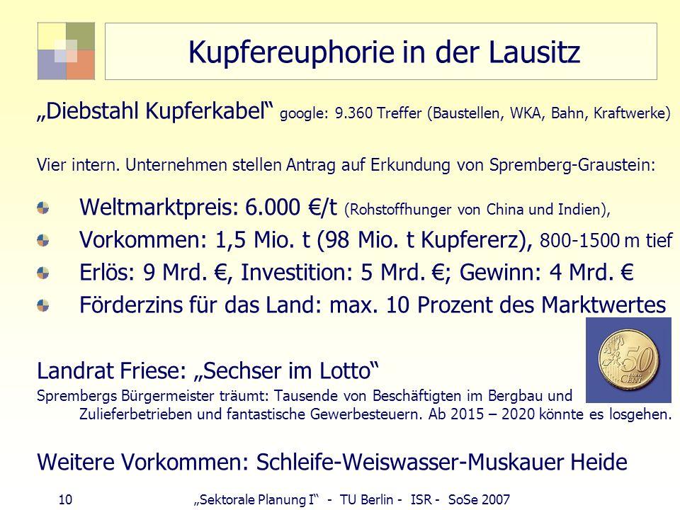 9Sektorale Planung I - TU Berlin - ISR - SoSe 2007 Erzbergbau Eisen: 412.000 t (1 Grube, Porta Westfalica) Uran: Abschluss der Sanierung 2015 Kosten: