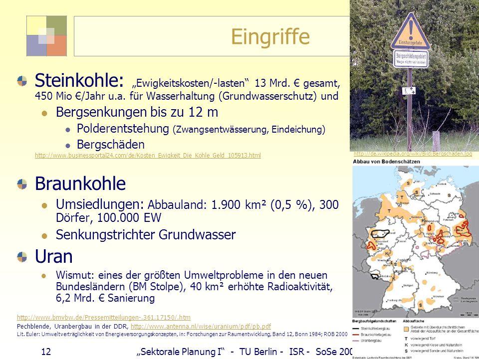 11Sektorale Planung I - TU Berlin - ISR - SoSe 2007 Kali- und Salzbergbau 2002 Neben Kohle größter Bergbaubereich Kali- und Salzgruppe: 13 % Anteil am