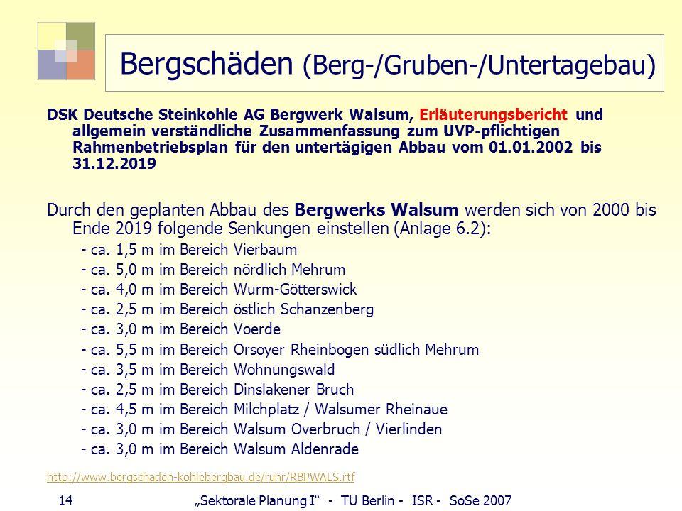 13Sektorale Planung I - TU Berlin - ISR - SoSe 2007 Bergschäden (Berg-/Gruben-/Untertagebau) http://www.deutsche-steinkohle.de/content.php?id=699 Berg