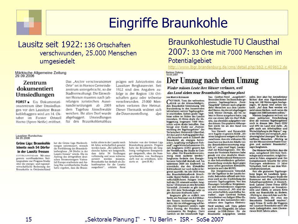 14Sektorale Planung I - TU Berlin - ISR - SoSe 2007 Bergschäden (Berg-/Gruben-/Untertagebau) DSK Deutsche Steinkohle AG Bergwerk Walsum, Erläuterungsb