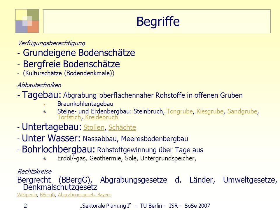 32Sektorale Planung I - TU Berlin - ISR - SoSe 2007 Kies und Sand - Nassauskiesung Typische Lagerstätten: Flussauen, Urstromtal (Glaziale Serie) Nassabbau/Nassauskiesung: in 5 - 40 m greift Wasserrecht § 31 Abs.