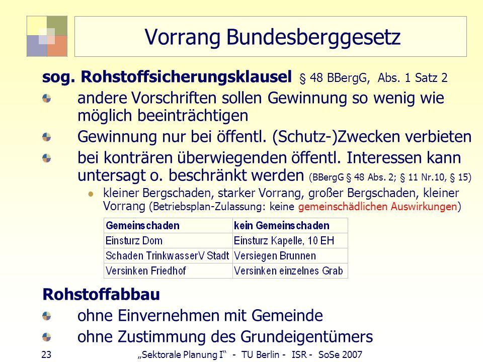 22Sektorale Planung I - TU Berlin - ISR - SoSe 2007 Bundesberggesetz Kein Umweltgesetz, Grundsätze, Ziele: Aufbereitung von Bodenschätzen ordnen und f