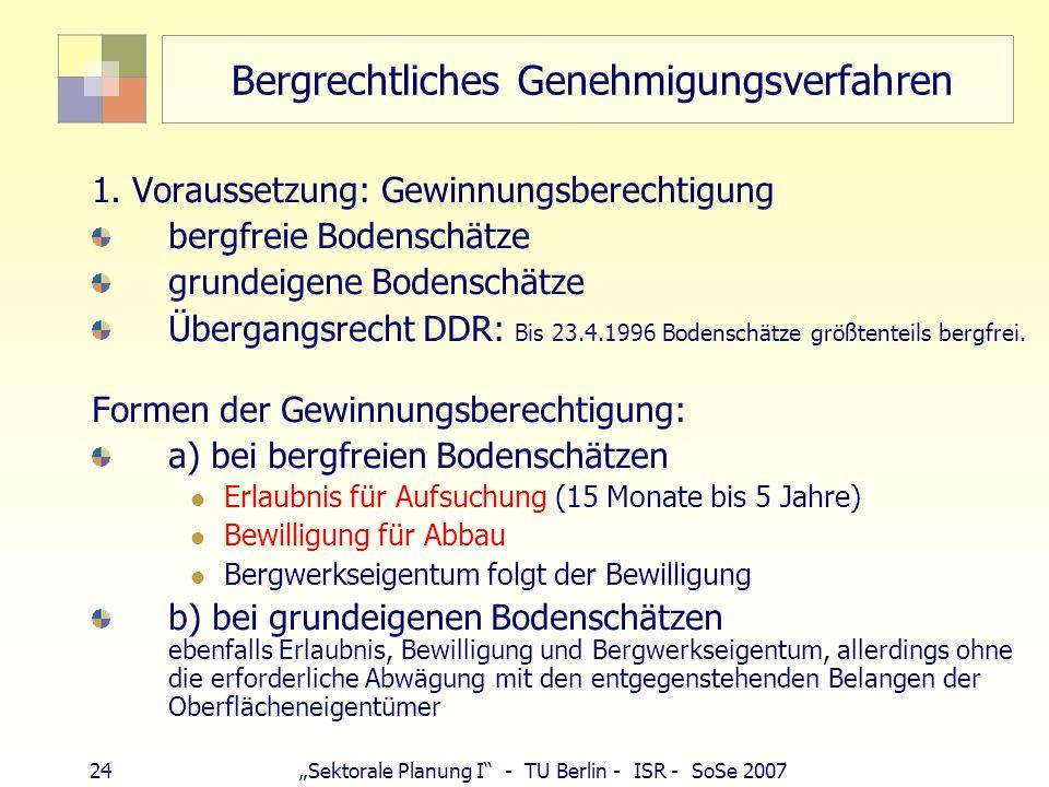 23Sektorale Planung I - TU Berlin - ISR - SoSe 2007 Vorrang Bundesberggesetz sog. Rohstoffsicherungsklausel § 48 BBergG, Abs. 1 Satz 2 andere Vorschri