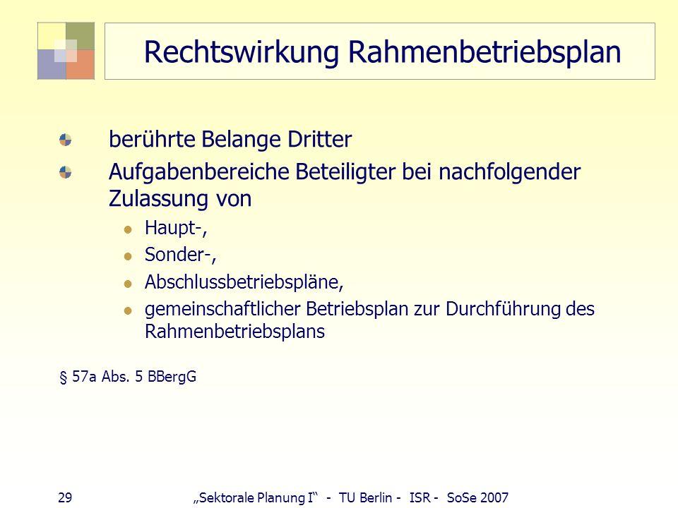 28Sektorale Planung I - TU Berlin - ISR - SoSe 2007 Planfeststellung bei UVP-Pflicht UVP-Pflicht: > 10 ha Fläche (Betriebs- oder Abbaufläche, Halden)