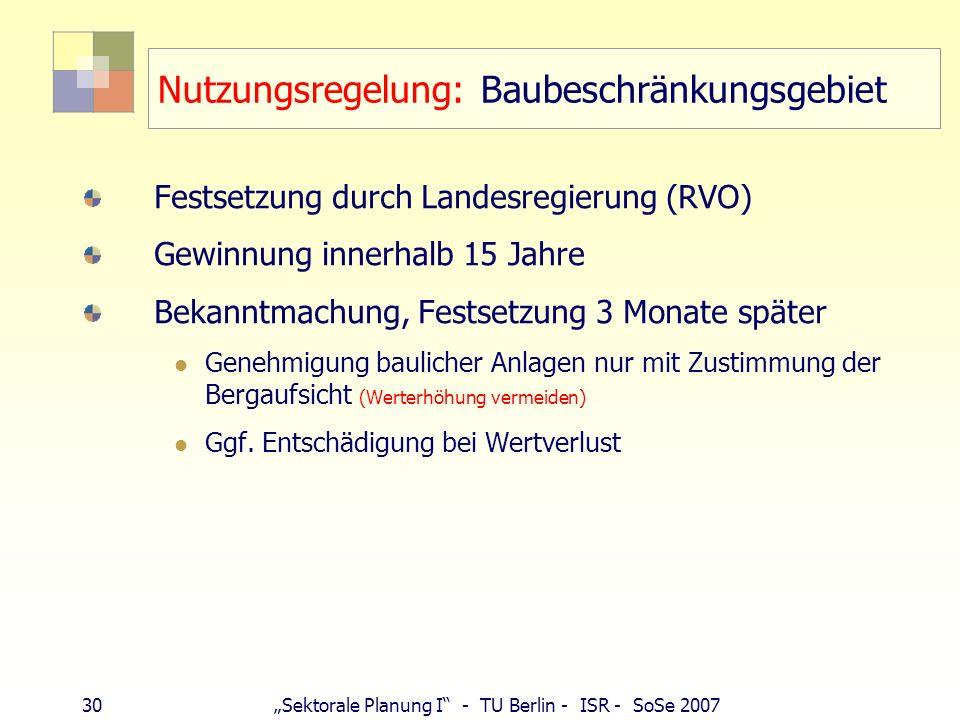 29Sektorale Planung I - TU Berlin - ISR - SoSe 2007 Rechtswirkung Rahmenbetriebsplan berührte Belange Dritter Aufgabenbereiche Beteiligter bei nachfol
