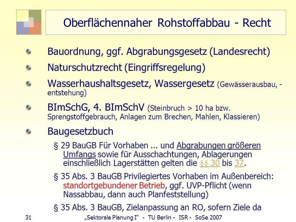 30Sektorale Planung I - TU Berlin - ISR - SoSe 2007 Nutzungsregelung: Baubeschränkungsgebiet Festsetzung durch Landesregierung (RVO) Gewinnung innerha