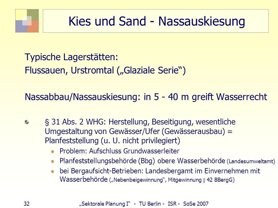 31Sektorale Planung I - TU Berlin - ISR - SoSe 2007 Oberflächennaher Rohstoffabbau - Recht Bauordnung, ggf. Abgrabungsgesetz (Landesrecht) Naturschutz