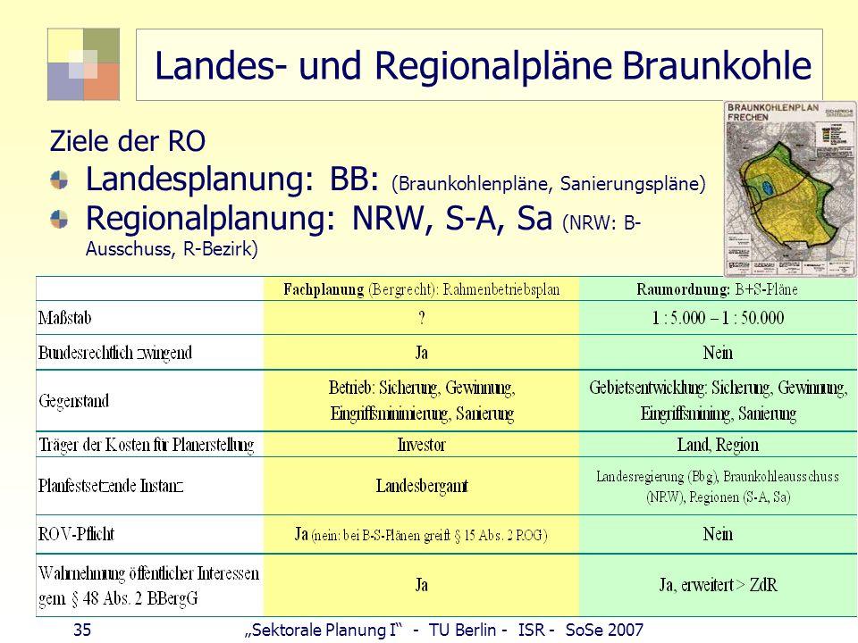 34Sektorale Planung I - TU Berlin - ISR - SoSe 2007 Integration in Gesamtplanung - ROV Raumordnungsverfahren (gem. RoV): Planungen, Maßnahmen, wenn im