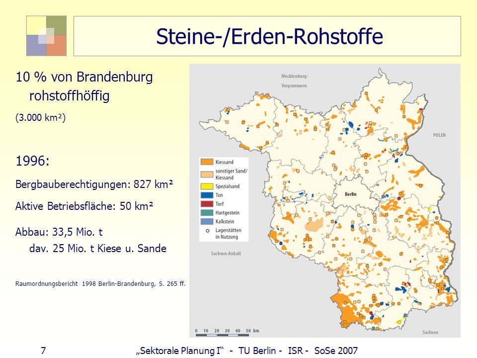 7Sektorale Planung I - TU Berlin - ISR - SoSe 2007 Steine-/Erden-Rohstoffe 10 % von Brandenburg rohstoffhöffig (3.000 km²) 1996: Bergbauberechtigungen: 827 km² Aktive Betriebsfläche: 50 km² Abbau: 33,5 Mio.