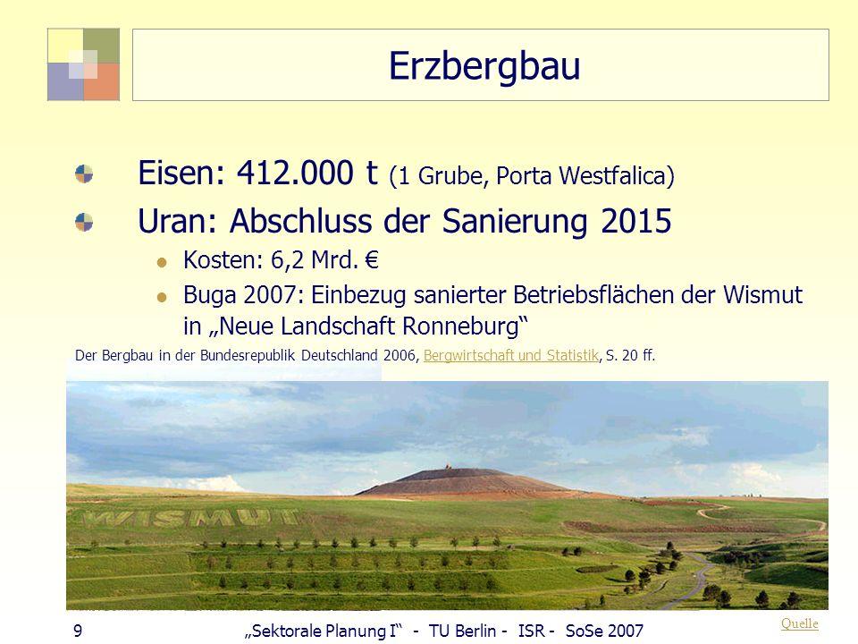 39Sektorale Planung I - TU Berlin - ISR - SoSe 2007 Integration in Gesamtplanung § 9 BauGB (1) Im Bebauungsplan können...festgesetzt werden: 17.