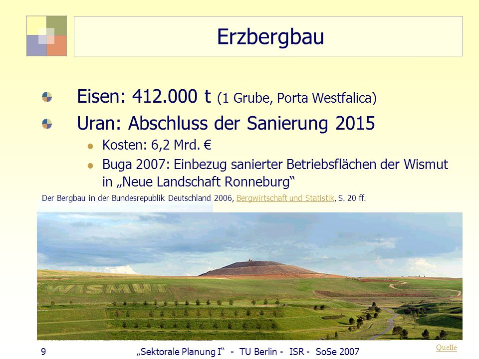 9Sektorale Planung I - TU Berlin - ISR - SoSe 2007 Erzbergbau Eisen: 412.000 t (1 Grube, Porta Westfalica) Uran: Abschluss der Sanierung 2015 Kosten: 6,2 Mrd.