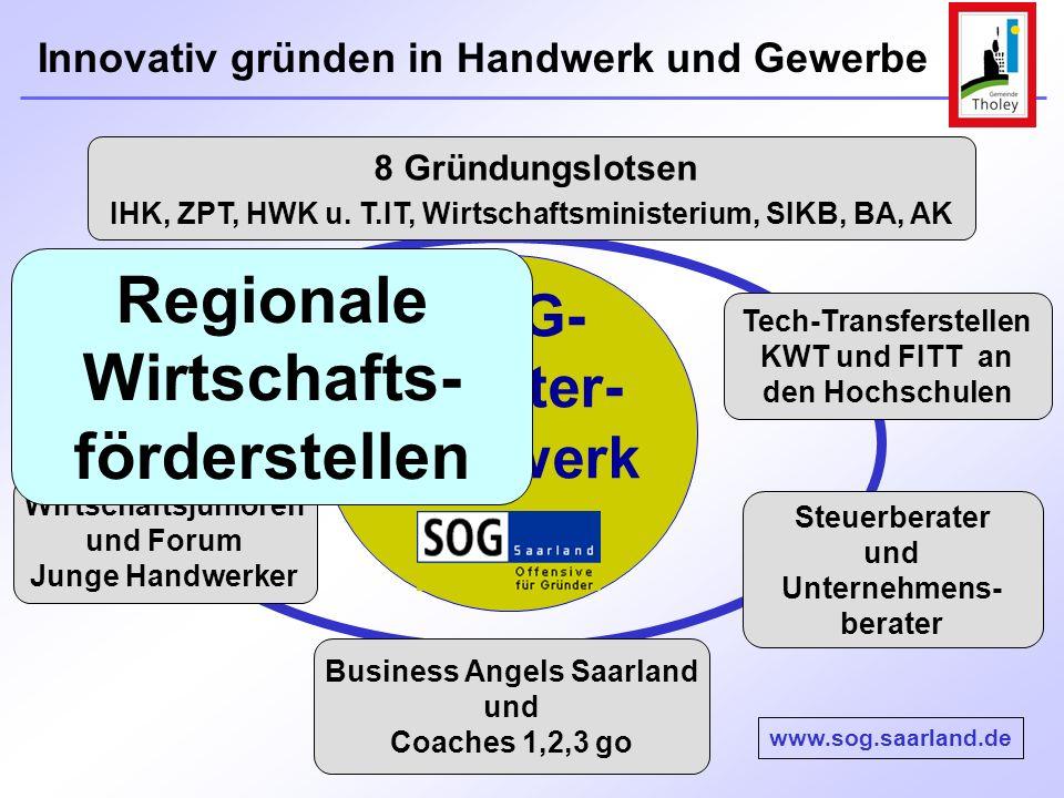 Innovativ gründen in Handwerk und Gewerbe 8 Gründungslotsen IHK, ZPT, HWK u. T.IT, Wirtschaftsministerium, SIKB, BA, AK Wirtschaftsjunioren und Forum