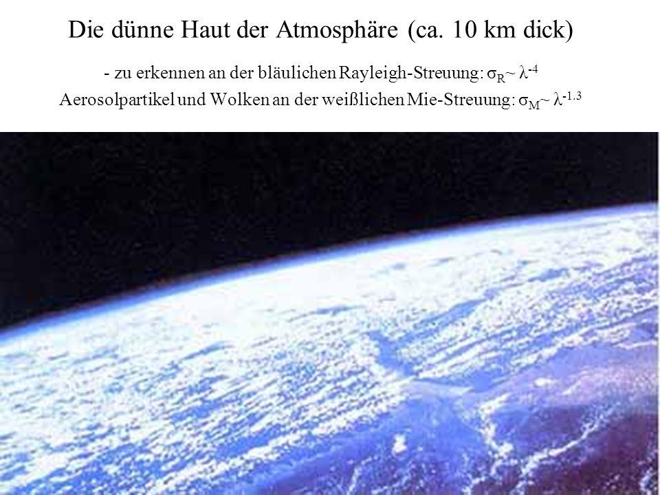 Die dünne Haut der Atmosphäre (ca. 10 km dick) - zu erkennen an der bläulichen Rayleigh-Streuung: σ R ~ λ -4 Aerosolpartikel und Wolken an der weißlic