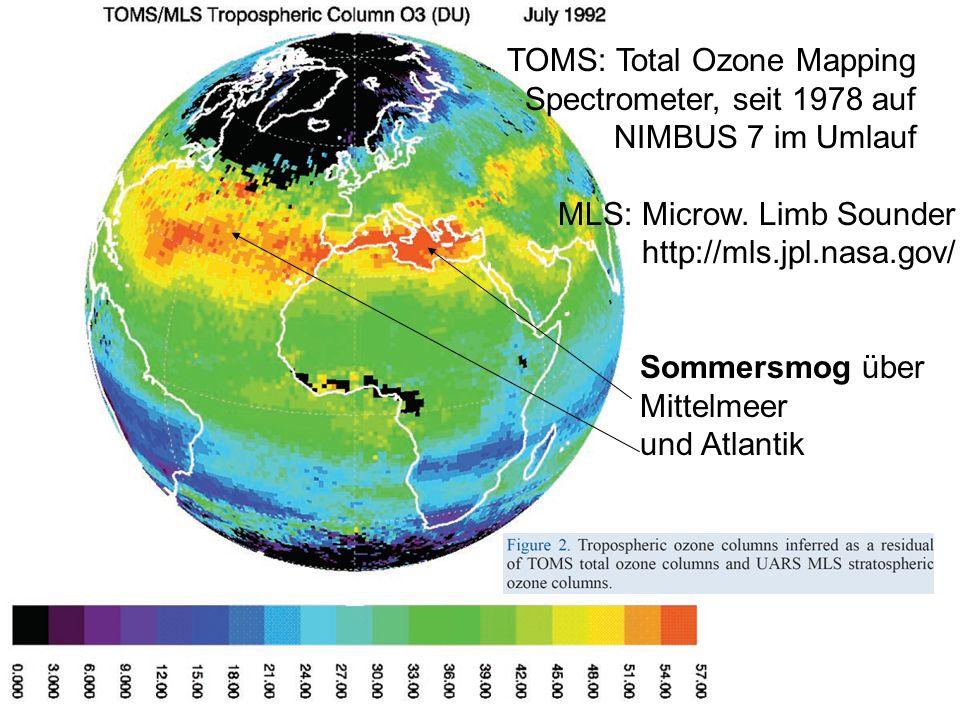 TOMS: Total Ozone Mapping Spectrometer, seit 1978 auf NIMBUS 7 im Umlauf MLS: Microw. Limb Sounder http://mls.jpl.nasa.gov/ Sommersmog über Mittelmeer