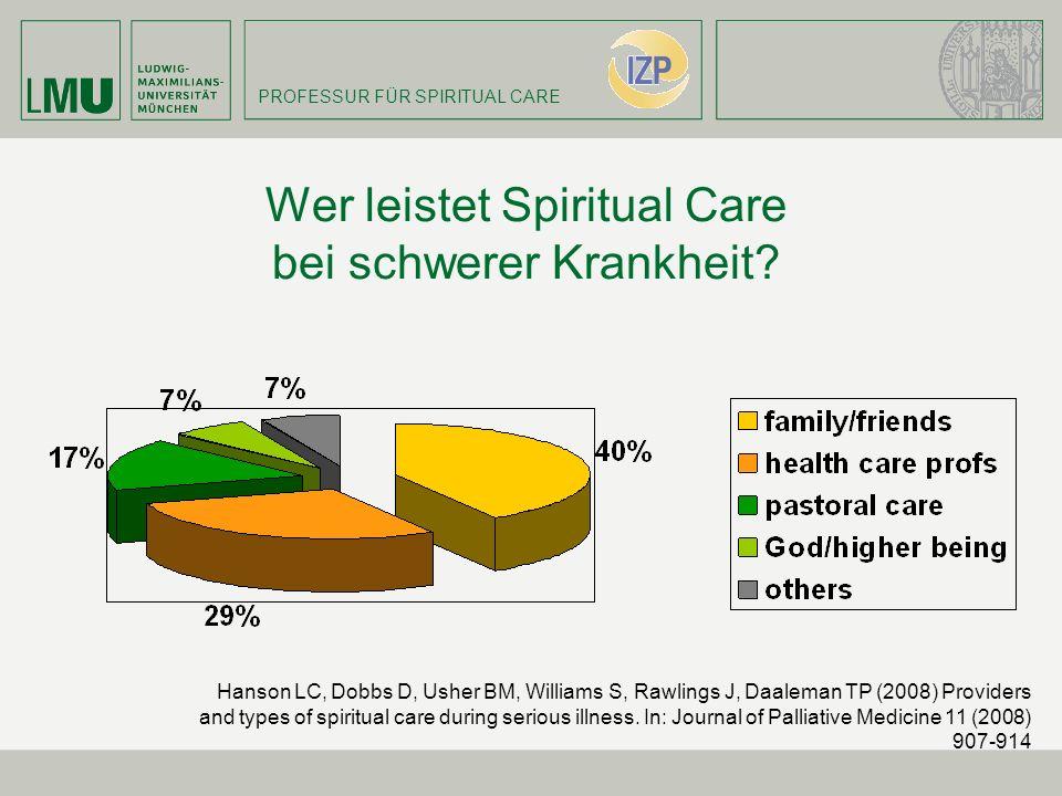 PROFESSUR FÜR SPIRITUAL CARE Wer leistet Spiritual Care bei schwerer Krankheit? Hanson LC, Dobbs D, Usher BM, Williams S, Rawlings J, Daaleman TP (200