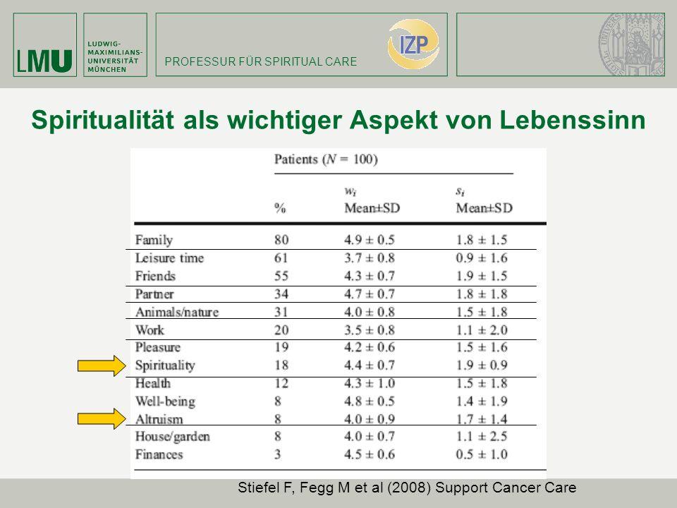 PROFESSUR FÜR SPIRITUAL CARE Spiritualität als wichtiger Aspekt von Lebenssinn Stiefel F, Fegg M et al (2008) Support Cancer Care