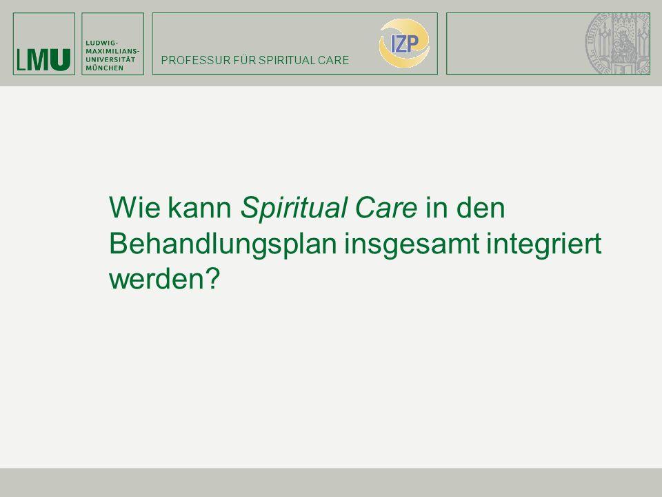 PROFESSUR FÜR SPIRITUAL CARE Wie kann Spiritual Care in den Behandlungsplan insgesamt integriert werden?