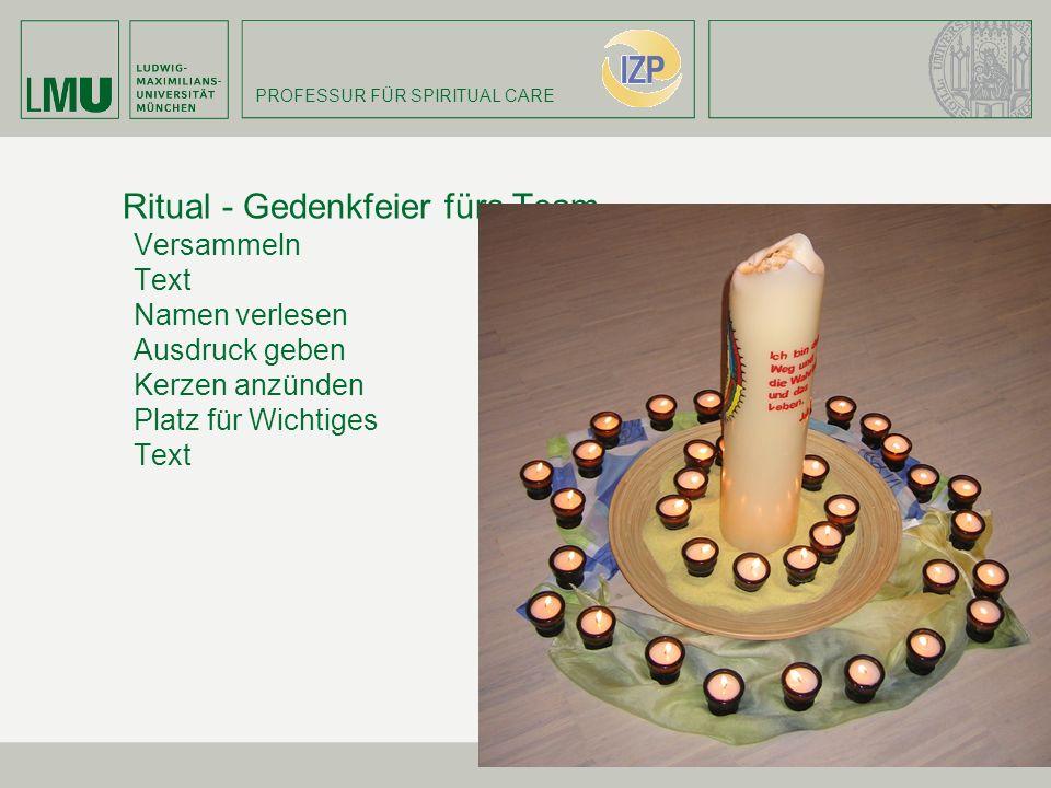 PROFESSUR FÜR SPIRITUAL CARE Ritual - Gedenkfeier fürs Team Versammeln Text Namen verlesen Ausdruck geben Kerzen anzünden Platz für Wichtiges Text