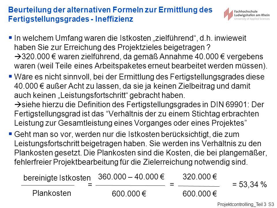 Projektcontrolling_Teil 3 S3 Beurteilung der alternativen Formeln zur Ermittlung des Fertigstellungsgrades - Ineffizienz In welchem Umfang waren die I