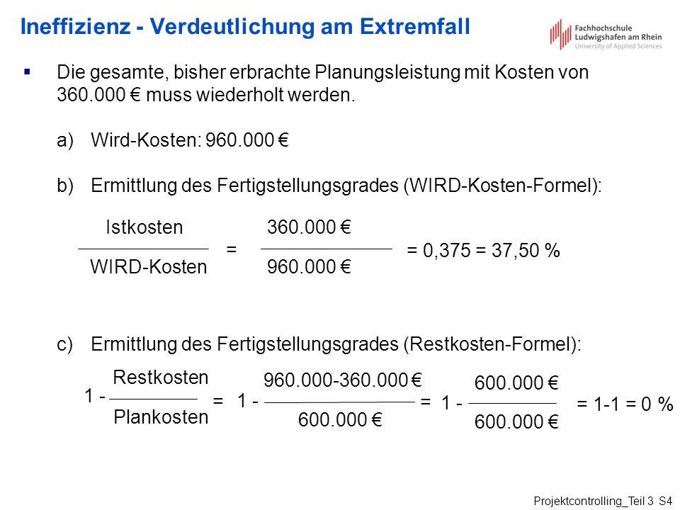 Projektcontrolling_Teil 3 S4 Ineffizienz - Verdeutlichung am Extremfall Die gesamte, bisher erbrachte Planungsleistung mit Kosten von 360.000 muss wie