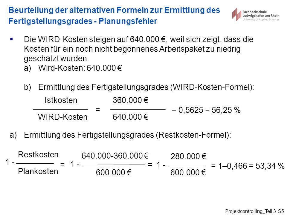 Projektcontrolling_Teil 3 S5 Beurteilung der alternativen Formeln zur Ermittlung des Fertigstellungsgrades - Planungsfehler Die WIRD-Kosten steigen au