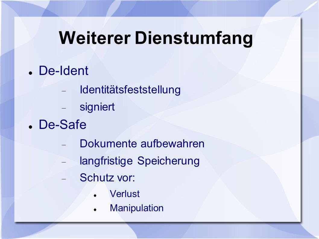 Weiterer Dienstumfang De-Ident Identitätsfeststellung signiert De-Safe Dokumente aufbewahren langfristige Speicherung Schutz vor: Verlust Manipulation