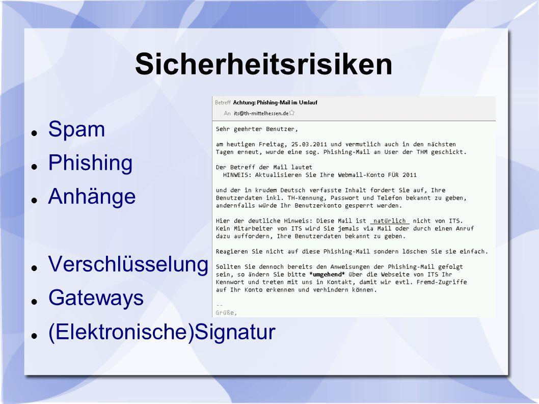 Sicherheitsrisiken Spam Phishing Anhänge Verschlüsselung Gateways (Elektronische)Signatur