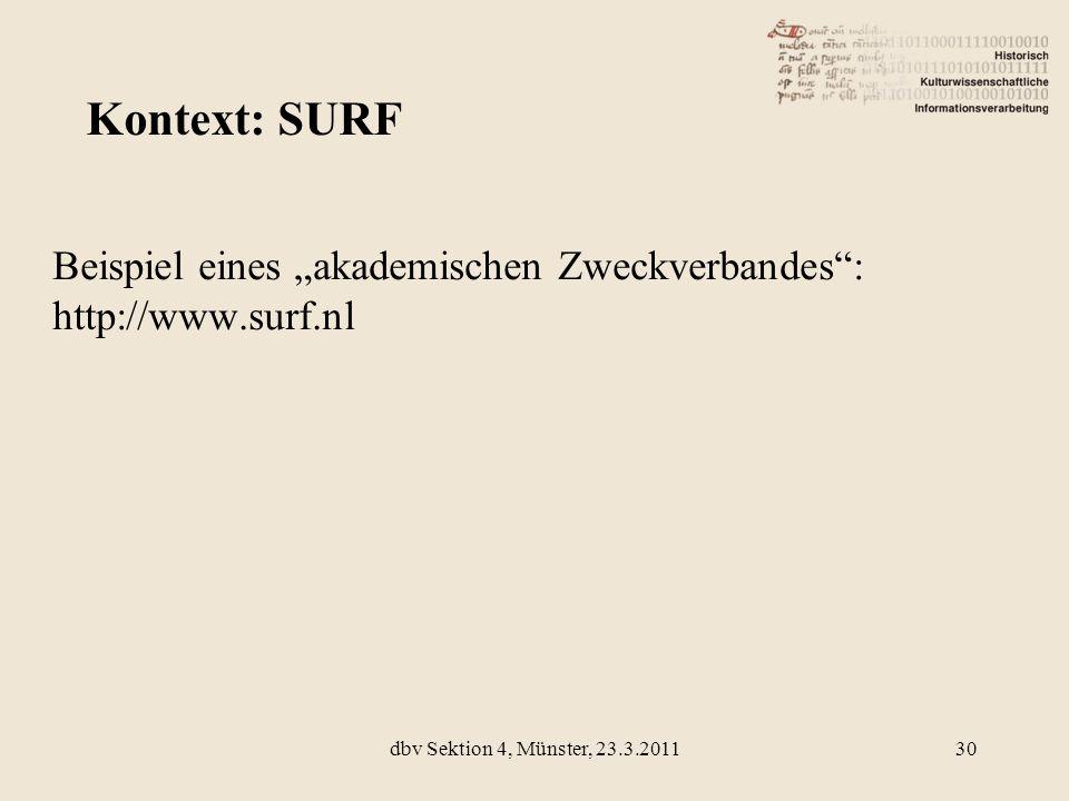 Beispiel eines akademischen Zweckverbandes: http://www.surf.nl Kontext: SURF 30dbv Sektion 4, Münster, 23.3.2011