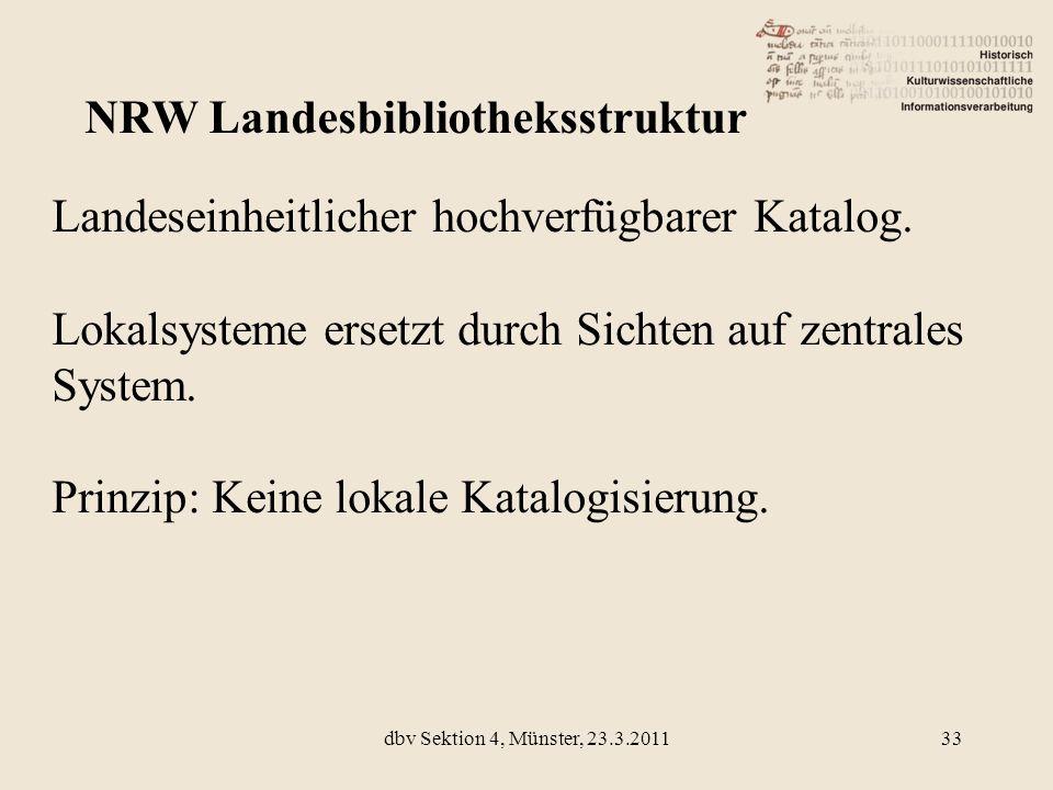 Landeseinheitlicher hochverfügbarer Katalog. Lokalsysteme ersetzt durch Sichten auf zentrales System. Prinzip: Keine lokale Katalogisierung. NRW Lande