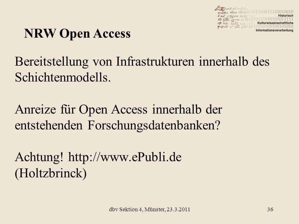 Bereitstellung von Infrastrukturen innerhalb des Schichtenmodells. Anreize für Open Access innerhalb der entstehenden Forschungsdatenbanken? Achtung!