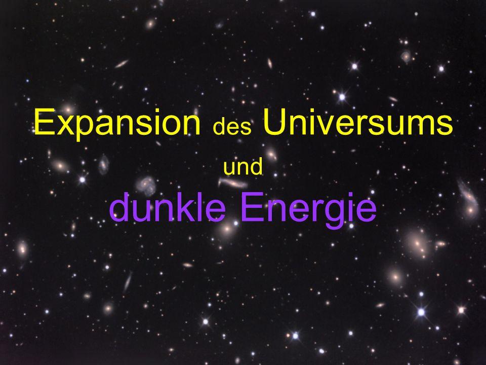 33 Universum auf kosmologischen Geschwindigkeitsskalen c = 300 000 km/s Mechanische Geschwindigkeiten durch den Raum: Erde um Sonne 0,0001c Typische Galaxienbewegung 0,003c Grosse Recessionsgeschwindigkeiten: Galaxien mit z > 1,5 ( > tausend beobachtet.