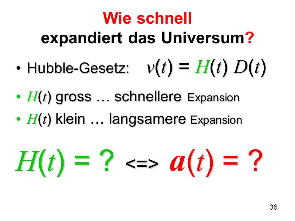 36 Wie schnell expandiert das Universum? Hubble-Gesetz: v ( t ) = H ( t ) D ( t )Hubble-Gesetz: v ( t ) = H ( t ) D ( t ) H ( t ) gross … schnellere E