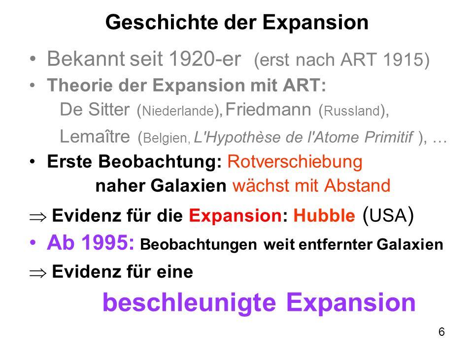7 Verständnis der Expansion 1920-1990-er: einfache Erklärungen der Expansion ohne ART ( bombenartige Explosion in starrem Raum mit Newtonscher Mechanik, SRT, Doppler-Effekt, Energieerhaltung, etc.) nicht anwendbar bei grossen Abständen Heute: konsequent ART + dunkle Energie Beides gegründet von Einstein