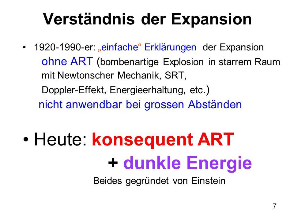 7 Verständnis der Expansion 1920-1990-er: einfache Erklärungen der Expansion ohne ART ( bombenartige Explosion in starrem Raum mit Newtonscher Mechani