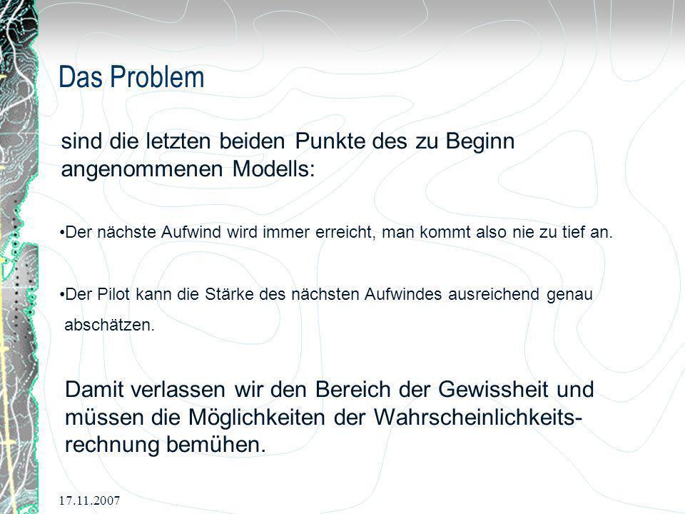 17.11.2007 Das Problem sind die letzten beiden Punkte des zu Beginn angenommenen Modells: Der nächste Aufwind wird immer erreicht, man kommt also nie