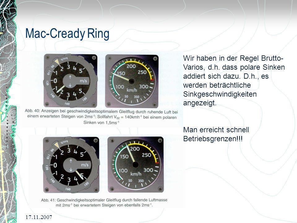 17.11.2007 Mac-Cready Ring Wir haben in der Regel Brutto- Varios, d.h. dass polare Sinken addiert sich dazu. D.h., es werden beträchtliche Sinkgeschwi