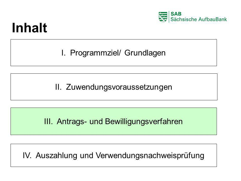 ABCDEF I. Programmziel/ Grundlagen III. Antrags- und Bewilligungsverfahren II. Zuwendungsvoraussetzungen Inhalt IV. Auszahlung und Verwendungsnachweis