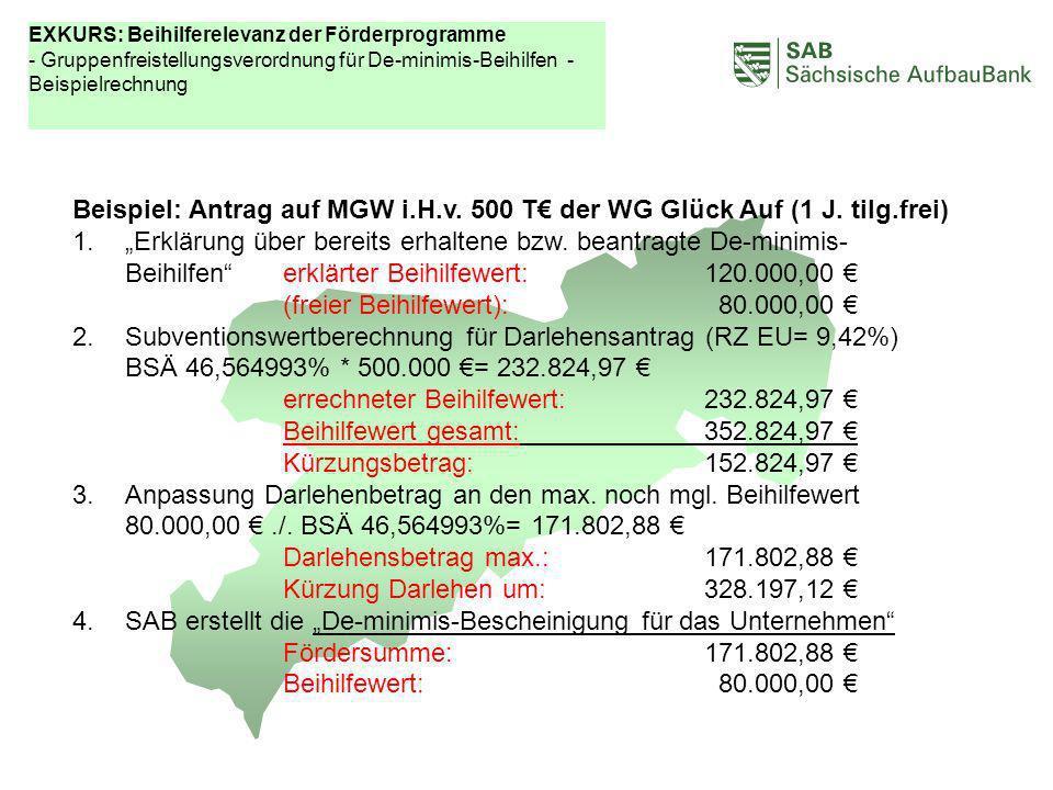 ABCDEF Beispiel: Antrag auf MGW i.H.v. 500 T der WG Glück Auf (1 J. tilg.frei) 1.Erklärung über bereits erhaltene bzw. beantragte De-minimis- Beihilfe