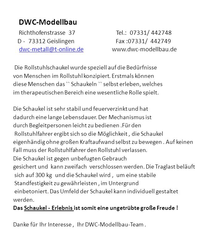 DWC-Modellbau Richthofenstrasse 37 Tel.: 07331/ 442748 D – 73312 Geislingen Fax.