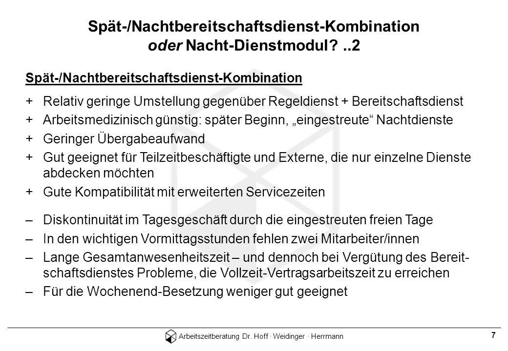 Arbeitszeitberatung Dr. Hoff · Weidinger · Herrmann 7 Spät-/Nachtbereitschaftsdienst-Kombination +Relativ geringe Umstellung gegenüber Regeldienst + B