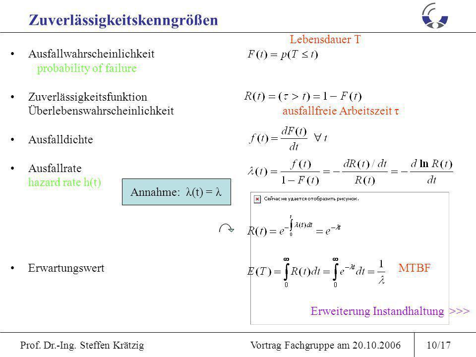 Prof. Dr.-Ing. Steffen Krätzig Vortrag Fachgruppe am 20.10.20069/17 Detail: Beispielhafte Verteilfunktionen Name Verteilfunktion Dichte Ausfallrate Mi