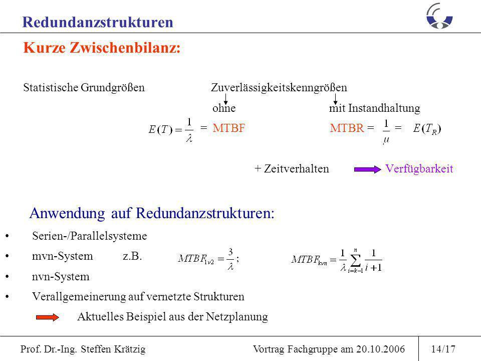 Prof. Dr.-Ing. Steffen Krätzig Vortrag Fachgruppe am 20.10.200613/17 Zeitverhalten stationäre Verfügbarkeit Erweiterung auf beliebige, endlich viele Z